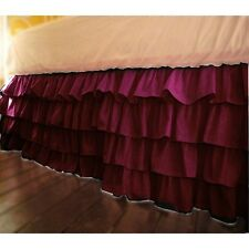 1Qty Multi Ruffle Bed Skirt Egyptian Cotton Wine Solid 1000 TC Drop 8-30''