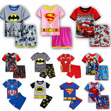 Summer Clothes 2pcs Set Kid Boy Cartoon Superhero Pajamas Pj's Sleepwear Outfits