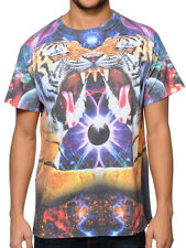 A-Lab Sublimation T-shirt Mirrored Tiger Eclipse Galaxy Space Graphic Print Tee