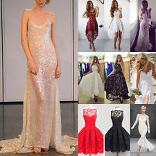 2017 Women's Sexy Shiny Lace Backless Long Ball Gown Evening Cocktail Prom Dress