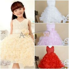Pageant Flower Girls Princess Party Wedding Bridesmaid Layered Gown Tutu Dresses