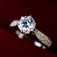 18k White Gold Plated 1.2 Carat Engagement Ring Made With Swarovski Crystal R103