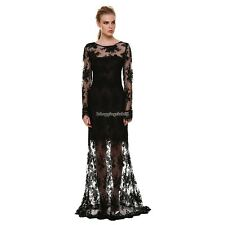 Sexy Women Hollow Long Maxi Evening Party Dress Backless Lace Cocktail Dress IS6
