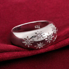Unique Design Flower Crystal Fashion 925 Sterling Silver Band Ring Jewelry H845