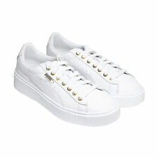 Puma Basket Platform Womens White Leather Lace Up Sneakers Shoes