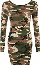 New Womens Camouflage Army Print Long Sleeve Stretch Bodycon Ladies Mini Dress