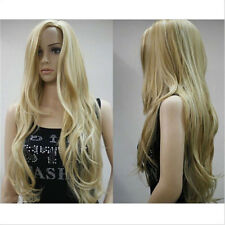 New Sale~ Hair Wig Synthetic Natural Long Curly Blond mix Hair Women Fashion+cap