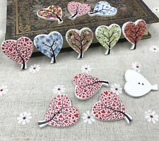Mix Wooden buttons Heart-shaped Tree Sewing scrapbooking Handmade crafts 30mm