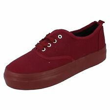 Ladies Spot On Burgundy Lace Up Canvas Shoes - F9608