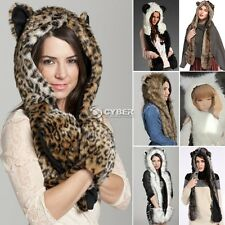 Animal Winter Warm Faux Fur Hat Fluffy Plush Cap Hood Scarf Shawl Glove DZ8801