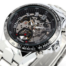 WINNER Mens Skeleton Automatic Mechanical Black Dial Stainless Steel Wrist Watch