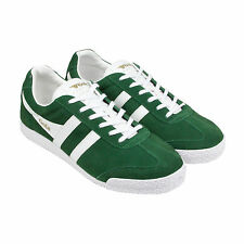 Gola Harrier Suede Mens Green Suede Lace Up Sneakers Shoes