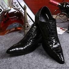 Men's Skin Pointed toe patent Leather snake cuban heel Formal Shiny Shoes New YT