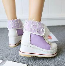 Womens sweet girl High Top Platform wedge heel Lolita Canvas Shoes lace Sneaker