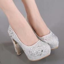 New Bridal Rhinestone Platform chunky High Heel Pump Wedding Womens floral Shoes