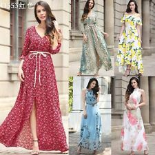 New Womens Ladies Long Maxi Chiffon Summer Boho Style Floral Beach Party Dress