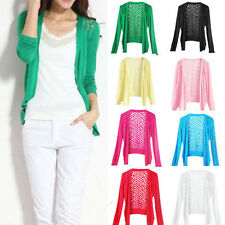 Womens Thin Top Floral Openwork Pattern Crochet Knit Sweater Cardigan 8 Color