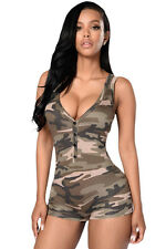 Womens army grid girl camouflage short jumpsuit fancy dress outfit soldier suit