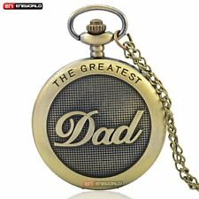 Mens Pocket Watch Quartz Necklace The Greatest Grandpa Father's Day Antique Gift
