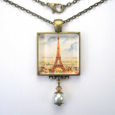 "PARIS FRANCE EIFFEL TOWER SKYLINE ""VINTAGE CHARM"" ART GLASS PENDANT NECKLACE"