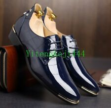 Mens Lace Up Oxfords Dress Formal Shoes England Patent Leather Pointy Toe New #@