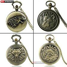 Bronze Wolf Pocket Watch Chain Quartz Necklace Mens Gift Antique Steampunk Retro
