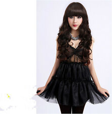 Fashion Lady Long Curly Wavy Hair Full Wigs With Bangs Anime Cosplay Party Black