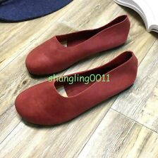 Womens Retro Chic Spring Round Toe Leather Pull On Flats Ballet Oxfords Shoes UK