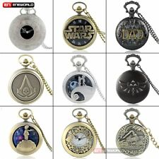 Vintage Pocket Watch Quartz Necklace Gift Antique Mens Chain Retro Pendant Theme