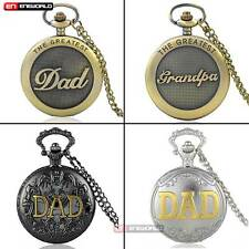 DAD Pocket Watch Quartz Necklace The Greatest Grandpa Father's Gift Antique Mens