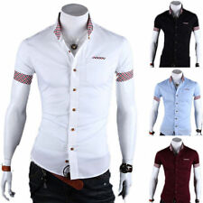 Luxury Mens Stylish Slim Fit Shirts Short Sleeves polo Dress Casual T-shirt Tops