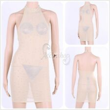 Plus Size Sexy Women's Erotic Clubwear Party Night Club Dress Mesh O Neck Dress