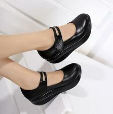 Womens Round Toe Wedge Heels Mary Janes Pumps Shoes Nurse strap crepper Shoes Sz