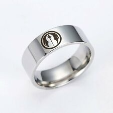 Silver Ring Star Wars Mens Band Engraved Jewelry Gift Stainless Steel Size 7-11