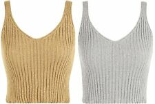 Womens Lurex Knitted Vest Cropped Top Ladies Strappy Sleeveless Sparkle Party
