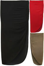 New Womens Plain Jersey Side Split Ruched Stretch Ladies Long Maxi Skirt 8 - 14