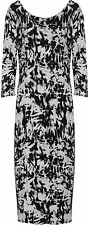 New Womens Plus Size Tie Dye Black Print Long Sleeve Ladies Midi Dress 14 - 28