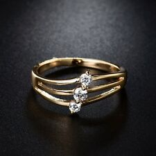Charming 18k Yellow Gold Filled  White Sapphire Crystal Wedding Ring Sz5-9