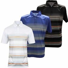 ISLAND GREEN 2017 CONCEALED PLACKET STRIPE PERFORMANCE MENS GOLF POLO SHIRT