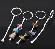 Wholesale Lots HX Silver Plated European Charm Key Chains&Key Rings 10cm