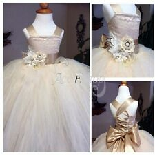 Pageant Flower Girl Princess Tulle Kids Party Wedding Bridesmaid Ball Gown Dress