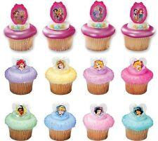 Disney Princess Glitter Cupcake Rings Cake Toppers Party Favors