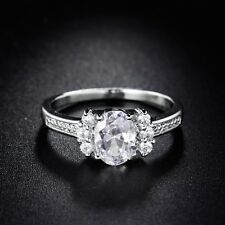 Lady's Jewelry White Gold Filled Sapphire Crystal Sparkling Fashion Ring Sz5-9