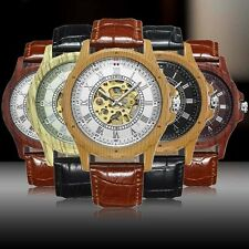 Automatic Mechanical Wrist Watch Leather Gold Dial Analog Sport Stainless Gift