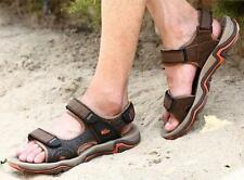 Mens sport beach sandals flat open toe outdoor leather casual summer shoes Hot @