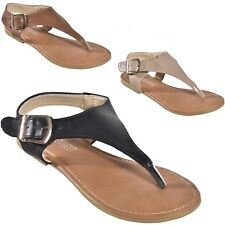 Women's Ankle Strap Buckle Slingback T-Strap Thong Roman Gladiator Flat Sandals