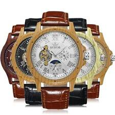 luxury Wrist Watch Wooden Automatic Mechanical Brown Leather Luxury Mens Gift