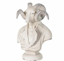RAM BUST ON PLINTH / SMALL GOAT DECORATIVE VINTAGE LOOK STATUE HOME DECOR