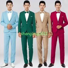 New mens slim fit one button coats pants groom wedding blazer suits party