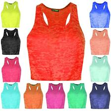 Ladies Womens Tank T Shirt Top Racer Muscle Burnout Back Cut Out Deep Side Crop